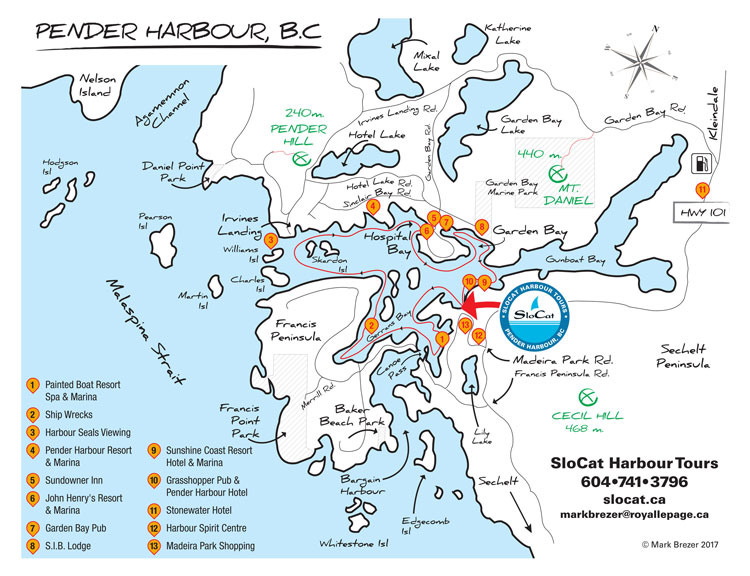 Pender Harbour boat tour map.